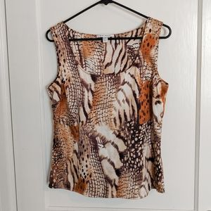 ST. JOHN Animal Print Silk Shell Tank (Size Small)